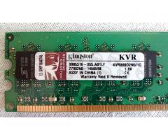 Kingston DDR2 PC2-6400 800MHz 2×1GB (2GB) CL5 KVR800D2N5/1G