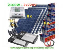 2160W AC 2x Szinuszos Inverterrel 24V 12V 5V USB DC szigetüzemű napelemes rendszer