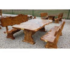 Kerti bútor, kerti garnitúra csomoros nyárfából